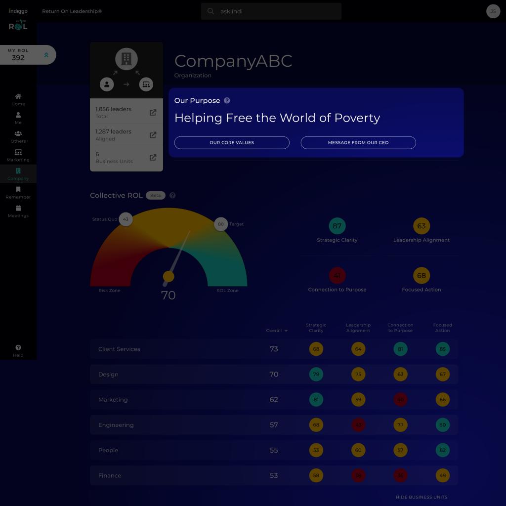 Platform screenshot highlighting organization core purpose statement