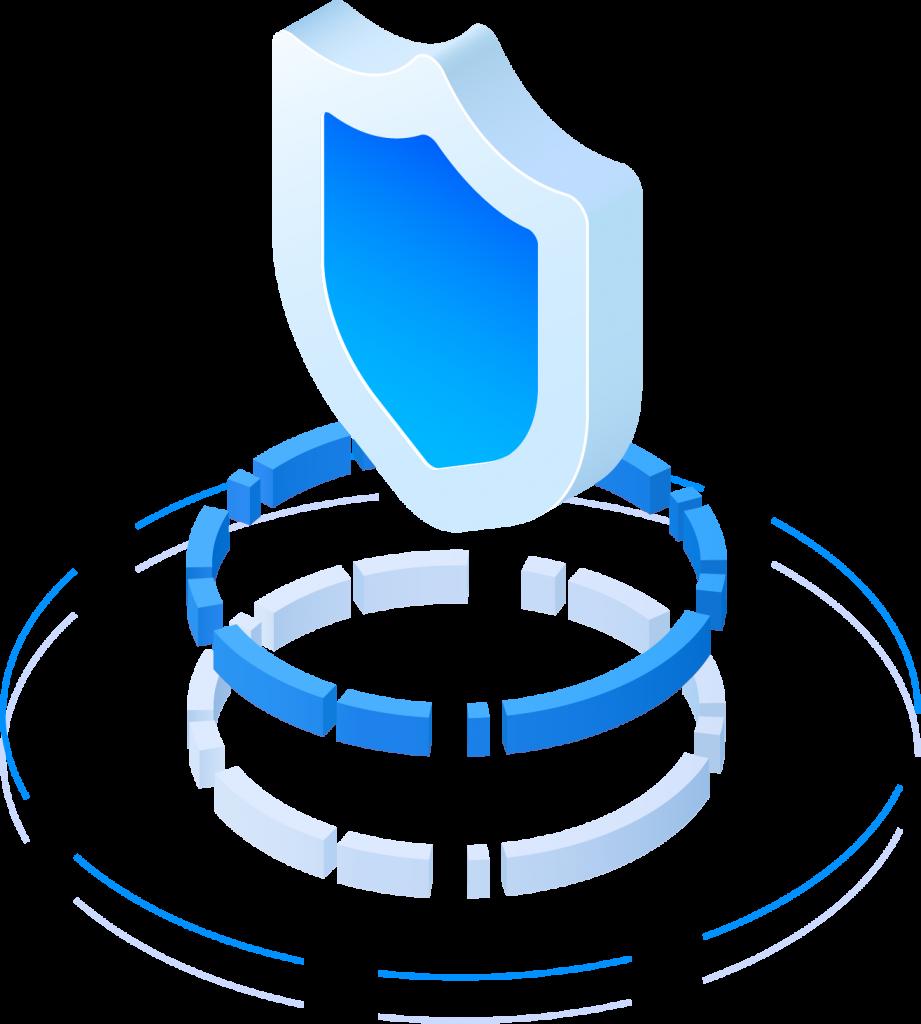 Illustration of data security shield
